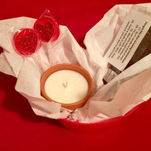 Valentine's Gift Bundle: Sugar & Spice candle, Forget-Me-Not grow kit, & Washington Cherry Lollipops!