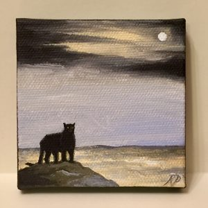 Panther at Dawn: Original miniature canvas painting