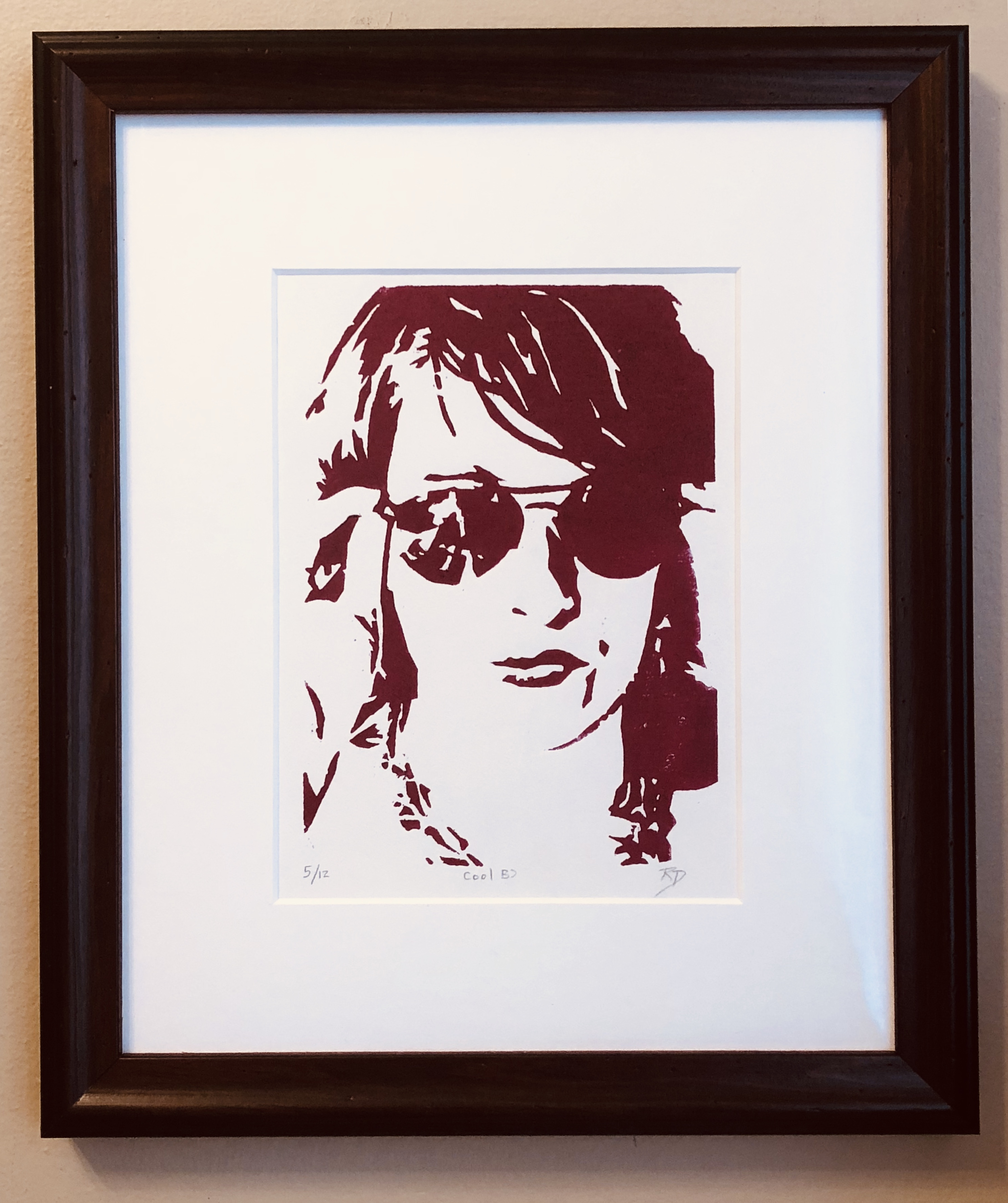 """Cool"" – ORIGINAL framed woodcut"