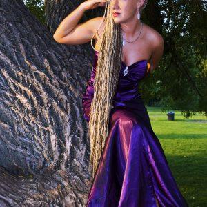 Autographed 5×7″ Photo of Rachel – Purple Dress