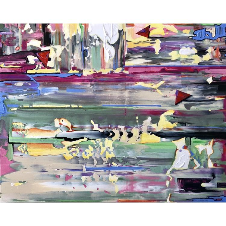 Three Cats, Three Kites ~ ORIGINAL acrylic painting on canvas