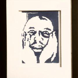 """Confused"" – ORIGINAL framed woodcut"