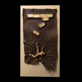 Falling – ORIGINAL Elk Hide Sculpture