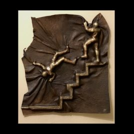 Taking the Fall – ORIGINAL Elk Hide Sculpture