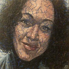 Self Portrait, 2020: ORIGINAL acrylic painting on eggshells