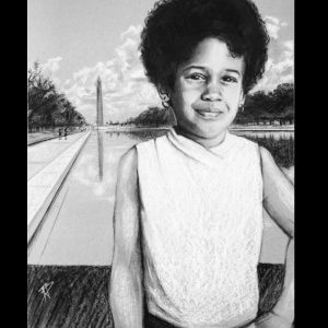 Young Kamala - ORIGINAL framed drawing