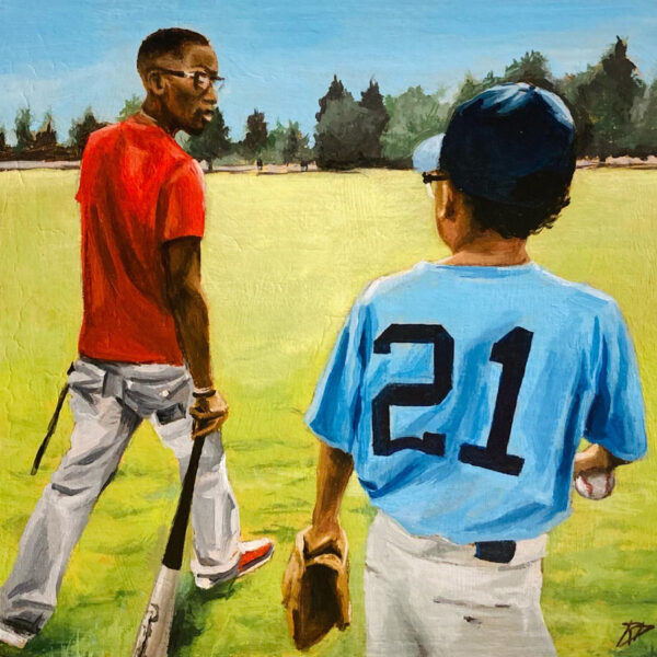 """This is an image of an original painting by Rachel Dolezal entitled """"Brothers"""""""